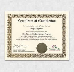 English Accomplishment Certificate