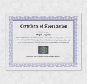 Greenville City Volunteering Certificate