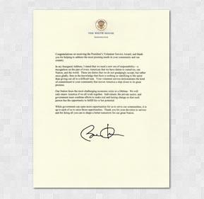 The President's Volunteer Service Award Letter